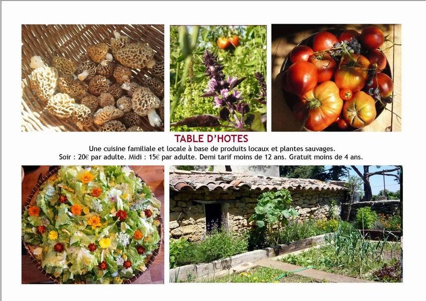 page plaquette arbories table d'hôtes